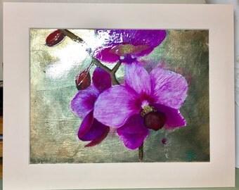"""Orchid - original acrylic on gold leaf 10x8"""""""