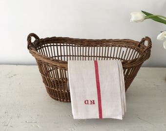 Vintage French linen kitchen towel