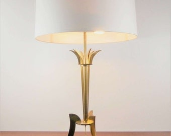 Large 1960 Golden brass tripod table lamp - style Hollywood regency brass table lamp 1960 Jansen