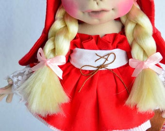 "Little Red Riding Hood textile 11 "", Little Red Riding Hood 11"", doll collector, Waldorf Dolls, Artdolls, OOAK doll, Handmade-inspired. """