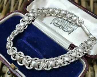 Vintage 925 sterling silver men's bracelet, superb knotted design, heavy
