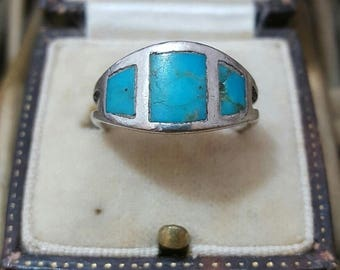 Vintage solid silver ring, inlaid turquoise gemstone, size l1/2