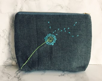 Dandelion Wishes, Make a Wish, Dandelions, Dandelion Wish, Dandelion bag, makeup bag, gift for her, gift that gives back, shop for a cause