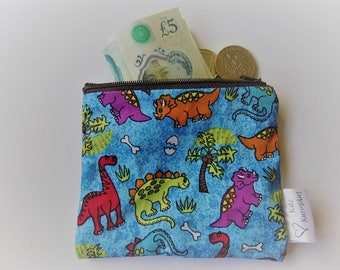 Dinosaur coin purse/pouch, cotton, fully lined, cute, original, lovely gift