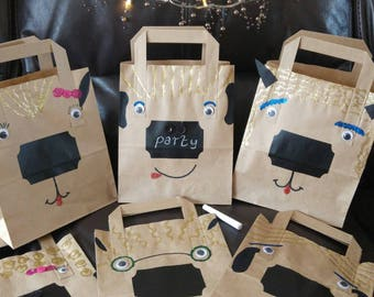 Small pack of 6 'silly animal faces' party bags. Boys or girls party. Chalkboard sticker for you to write the child's name. Paper.