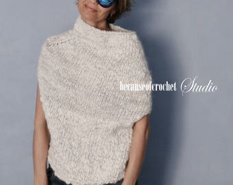 PDF Knitting PATTERN for beginners - Woman seamless top. Size S-M. Knitted with circular needle. Written in US terms.