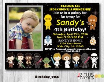 Star Wars Photo Birthday Invitation card, Photo Star Wars Birthday Invitation With Photo, Photo Star Wars Invitation, Birthday Party Invites