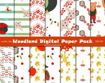 Woodland digital paper pack Scrapbook paper Digital background Baby shower Printable background Boho digital paper Scrapbook pages 14 JPEG