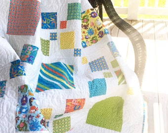 "Silly squares quilt, blues and greens, 61""x64"""