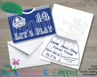 Soccer Jersey Invitation; Folded Card; Postcard; PDF; E-Card