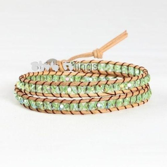 Lovely tan  leather periodot green rhinestone entwined wrap bracelet
