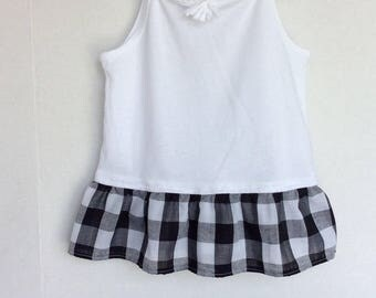 Girls Tank Top Tunic Black and White Ruffle 5T