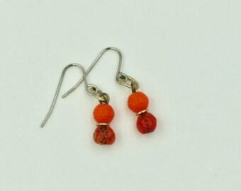 Orange Red Bead Dangle Earrings BUY 3 Get 1 FREE