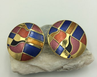 Geometic Multi Colored Earrings with Gold Tone Separating Line   BUY 3 Get 1 FREE