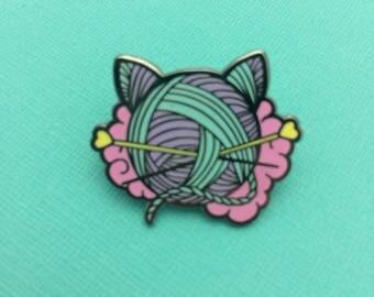 Kitten Wool Ball Enamel Pin // Wool, Yarn, Crochet, Cat Pin // EP214