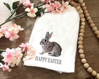 Bunny Tea Towel - Easter Tea Towel - Rabbit Towel - Happy Easter Tea Towel