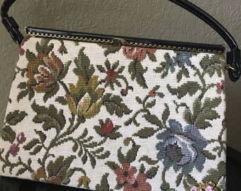 1950s Floral Needlepoint Purse