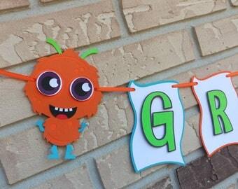 Monster Banner,Monster Birthday Banner,Monster Birthday Decorations,Little Monster 1st Birthday,Monster Bash,Monster Baby Shower,Name Banner