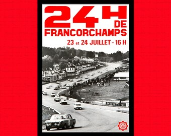 FINE ART REPRODUCTION Car Racing 24h of Francorchamps Poster 1958   Vintage Car Mans Poster Advertising Retro    Design
