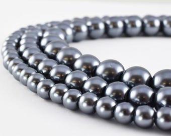 Gray Hematite Glass Pearl Beads Glass Beads Round 6mm/8mm/10mm Shine Round Beads For Jewelry Making Item #789222045807