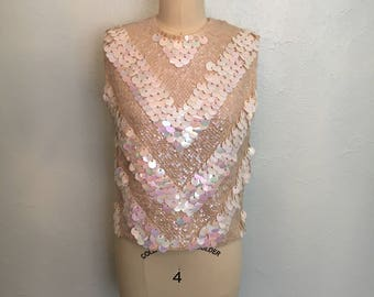 1950's ivory sequined top / vintage 50's sequined top / 50's tops