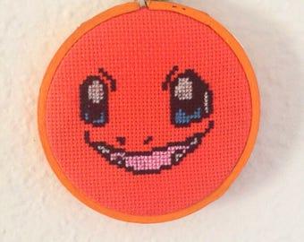 Charmander Pokemon Inspired Cross Stitch Hoop Art - Ready to Ship