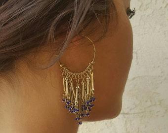 Vintage Indian Hoops,Gold Hoops,Gold Earrings,Gold Jewelry,Chandelier Earrings,Chandelier Hoop Earrings,Blue Earrings,Bohemian Earrings