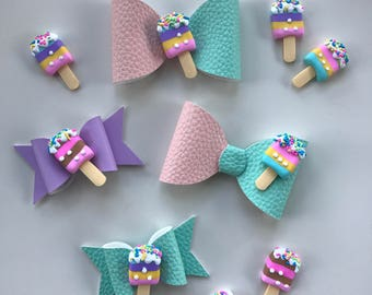 Ice Cream Bow Headband or clip