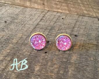 Druzy Earrings- Crystal Pink