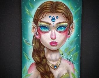 "Original oil painting- ""Evelyn""- elf goddess painting- 5 1/2""x 3 1/2"""