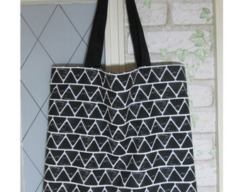 Tote Bag Black large pips long handle