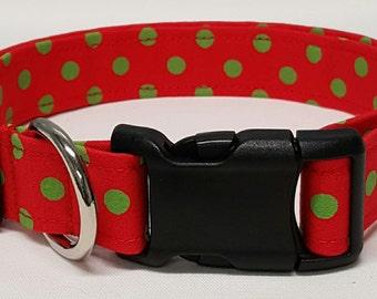 dog collar, holiday polka dots, christmas dog collar, christmas collar, holiday dog collar, holiday collar, xmas dog collar, xmas collar
