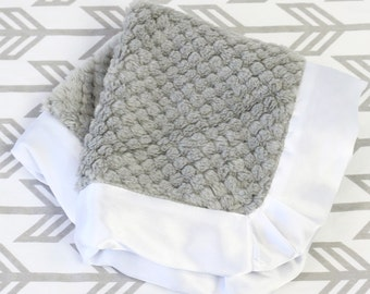 Gray with White Satin Trim Minky Baby Boy Lovie | Gray, White, Satin, Plush Minky Baby Boy Security Blanket