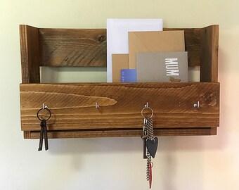 Key Holder, Mail Holder, Mail Storage, Housewarming Gift, Key Hooks,  Mail and Key Holder, Wall Mail Holder, Wall Key Rack