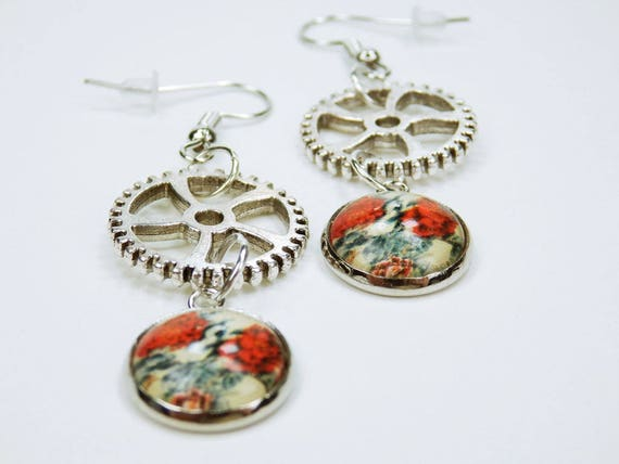 Earrings Necklaces with red roses on silver-colored pierced earrings earring pendant earrings red flower rose Steampunk gear Retro