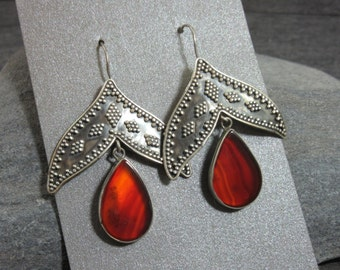 Stunning, Sterling Silver, Earrings, Amber, Brown, Agate, Granulation, Mahogany, Dangle, Exotic
