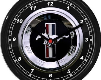 Mustang Wall Clock Garage Work Shop Gift Father's Day Man Cave Rec Room