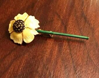 Vintage brown eyed Susan flower enamel brooch signed Sandor CO
