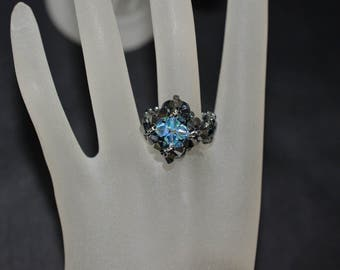 Small crystal ring Swarovski light chrome 2x, aquamarine ab2x