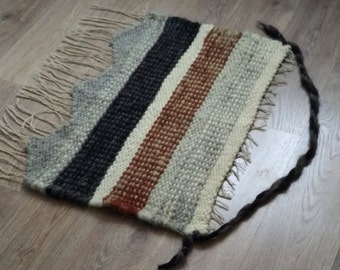 Organic Wool tapestry - woven panel - hand made