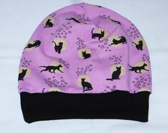 Beanie Hat KU 55-58 pink black cat cat gold