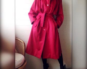 Yves Saint Laurent Variation Paris red vintage coat 80 s 80s wool belted oversized - M/L/XL