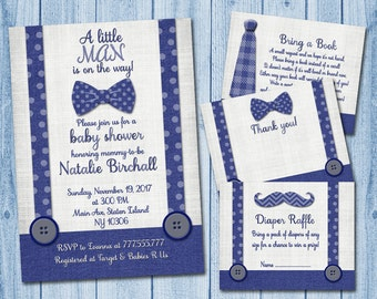 Little man baby shower invitation with inserts boy Invite set bow tie moustache navy blue grey diaper insert bring a book thank you card