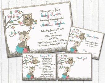 Baby shower invitation set with inserts fox owl baby girl digital invite printable thank you card bring a book Diaper Raffle coral turquoise