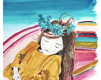 Reproduction watercolor girl asleep • giclee on natural cotton paper