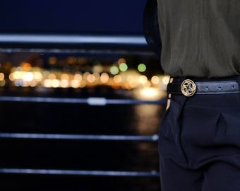 Black Ladies leather belt. Perfect with high waist and low waist outfits.