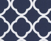 Fabric by the Yard - Keepsake Calico Cotton Fabric-Quatrefoil Navy & White Fabric