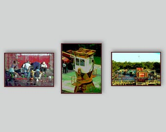 GIFT FOR MEN. Special Price. Free Shipping. 3 Piece Wall Grouping of Construction Images. Office Art. Fine Art Photography. Metallic Finish.