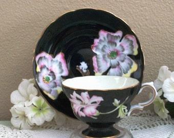 Occupied Japan Cup & Saucer Black Tea Mother Vintage Hand Painted