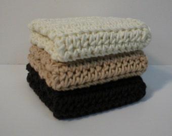 Handmade Crochet Cotton Dishcloths or Washcloths, Set of Three, 1 each in Cream, Beige, Coffee Brown (Dishcloths2135)